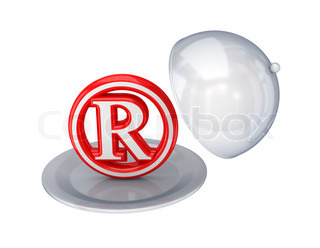 Red copyright symbol on a dish