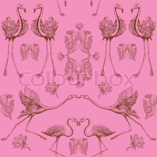 Abstract birds Hintergrund, Mode nahtlose Muster, vintage vector wallpaper, monochrome Stoff und kreative Verpackung mit grafischer Flamingos , leafs Ornamente - Sommer und Frühling Thema für Design