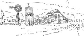 vector - Old farm under mountains hand draw