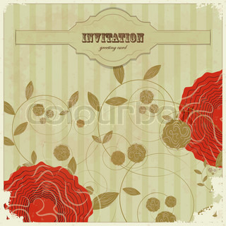 Vintage card with flower and place for text - scrapbook style