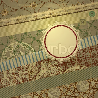 vector spring retro scrapbook design pattern on abstract background with grungy blots, old paper texture, lacy frame for your text