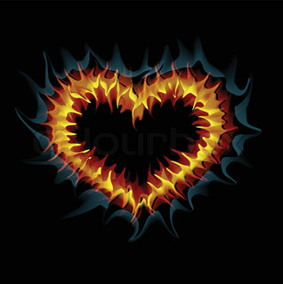 Flaming heart Vector illustration