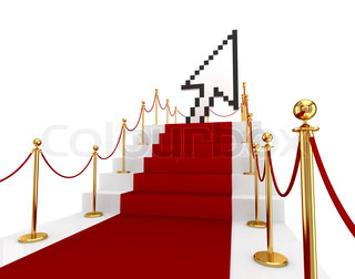 Red carpet on a stairs and large cursor