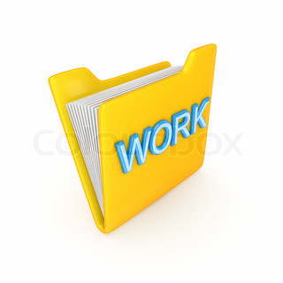 Yellow folder with a blue word WORK
