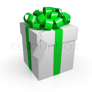 White gift box with a green ribbon