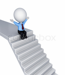 3d small person sitting on a stairs