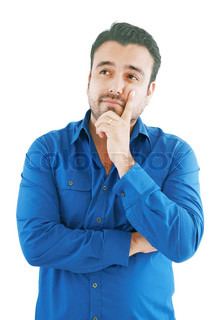 caucasian man thinking pensive looking up studio portrait on isolated white background