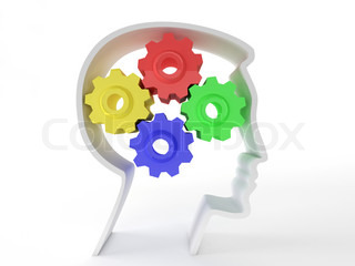 Human intelligence and brain function represented by gears in the shape of a head representing the symbol of mental health and neurological functioning in patients with depression