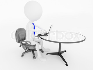 3d business man character sitting in office chair with laptop at desk