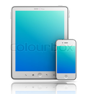 Ipade - Like Tablet PC and Smartphone on White Background, 3D Render