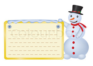 snowman with greetings card over white vector illustration
