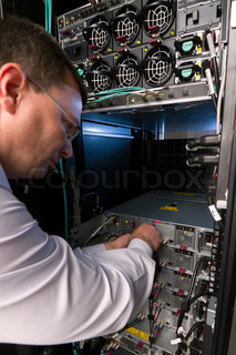 Technician perform preventive maintenance to a server
