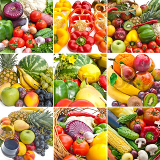 Multi picture of some group of fruits and vegetables