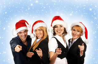 Young attractive business people in Christmas style over blue background