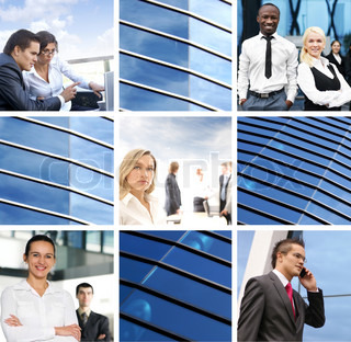A collage of images with young businesspeople