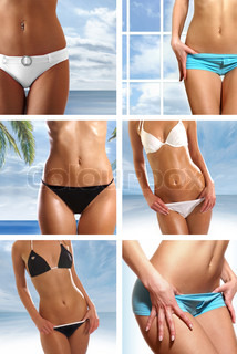 Collage of nine belly pictures