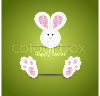 White easter bunny wishing card