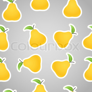 Yellow pears on grey seamless background