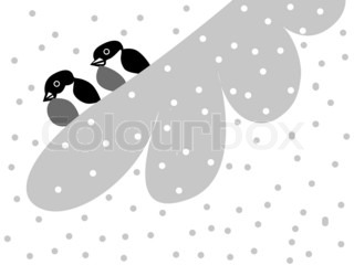 two bullfinches on snow branch