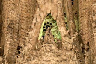 Detail of the Sagrada Familia at night, Barcelona Spain