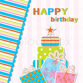 Template birthday greeting card, vector