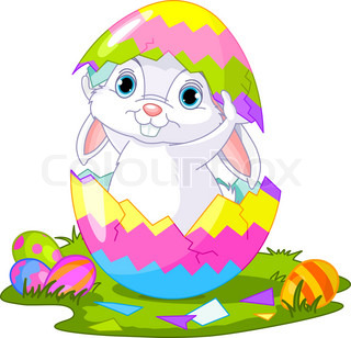 Easter Bunny jumping out fromegg