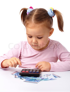 Little girl plays with money