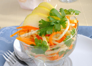 salad freshly homemade without mayonaise. Ingredients include cilantro ...