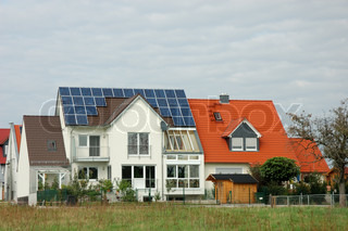 House with solar panels on the roof in germany