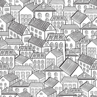 seamless pattern town houses