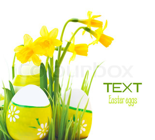 Easter eggs border with flowers