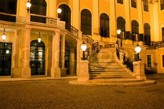 Vienna - stairs of Schonbrunn palace in the night s