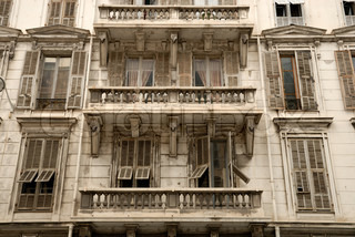Building facade in the old Nice in the french riviera France