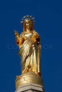 Gilded statue of the Virgin Mary at Avignon Cathedral, France
