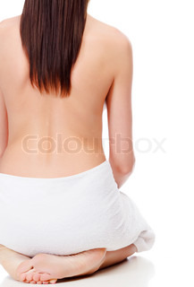 beautiful naked female back, isolated on white background