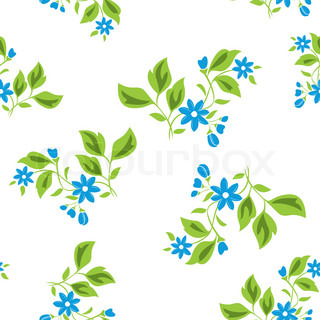 seamless floral texture with blue flowers on white