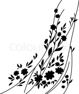 Flowers and leaves, silhouette