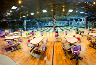 interior of a bowling center