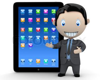 It's touchpad era! Social 3D characters: businessman in suit  pointing at the modern touch pad organizer device. New constantly growing collection of expressive unique multiuse people images. Concept for internet technology illustration. Isolated.