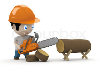 Lumberjack at work! Social 3D characters: woodcutter using saw to slice the trunk. New constantly growing collection of expressive unique multiuse people images. Concept for working logger illustration. Isolated.