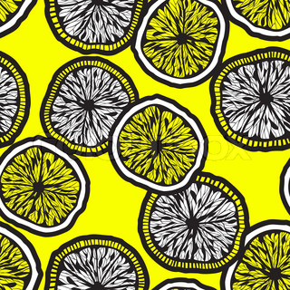 seamless backgroud with hand drawn lemon slices