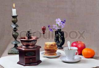 Still-life with a manual coffee grinder