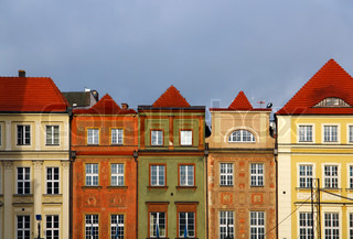 Old buildings on the central Market square in Poznan, Poland