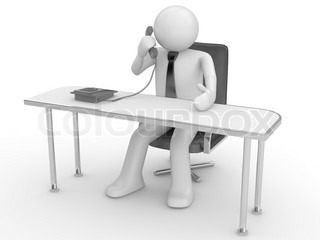 Calling man at workplace people at office, stuff, manager series 3d isolated character