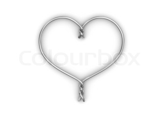 Wire heart love, valentine day series 3d isolated characters