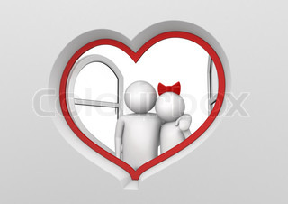 Couple in the heart shaped window love, valentine day series 3d isolated characters
