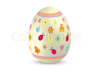 Isolated and decorated Easter egg vector illustration with summer symbols on white background for different uses