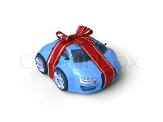 Car Gift Gift stripe over little car with a bow