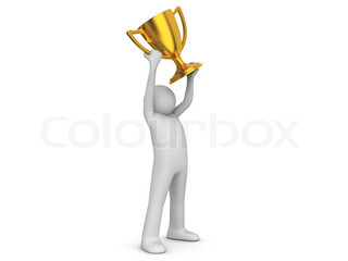 Winner holding cup