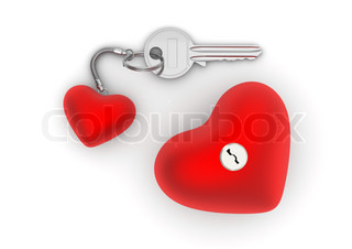 Key to my heart with heart trinket and lock love, valentine day series 3d isolated objects